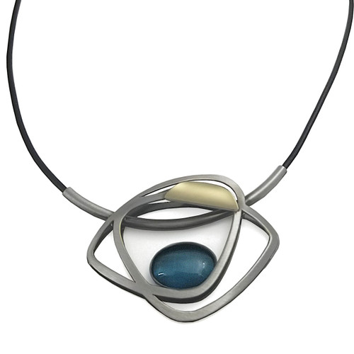 Christophe Poly Teal Oval Necklace