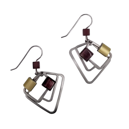 Christophe Poly Purple Square Earrings