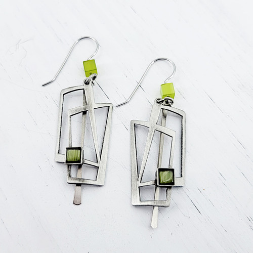 Christophe Poly Olive Square Earrings