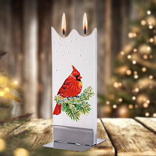Flatyz Candle - Snowy Cardinal on Pine Branch