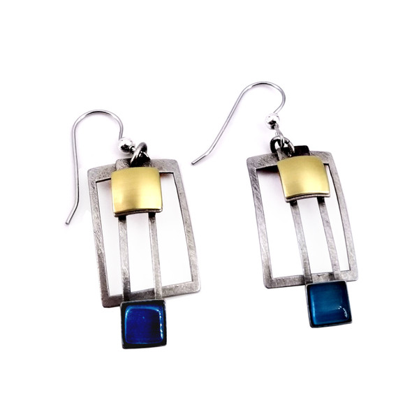 Christophe Poly Teal Square Earrings