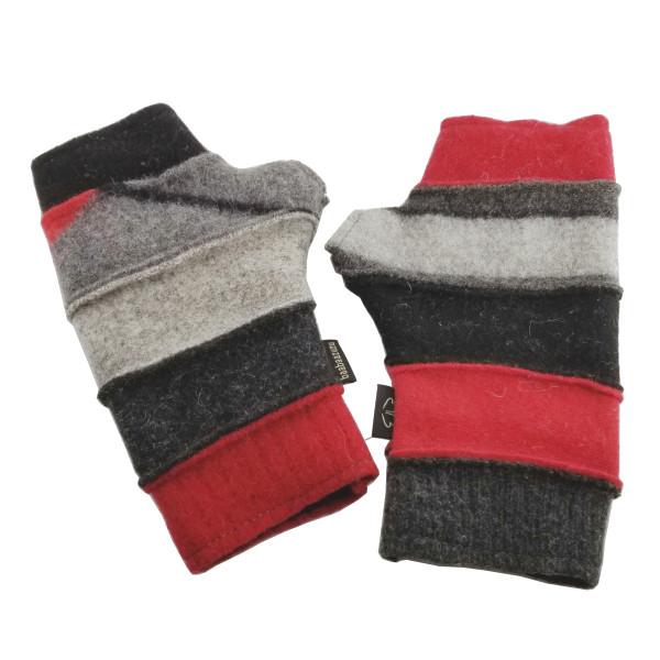 Upcyled Fingerless Gloves - Red, Black, Grey