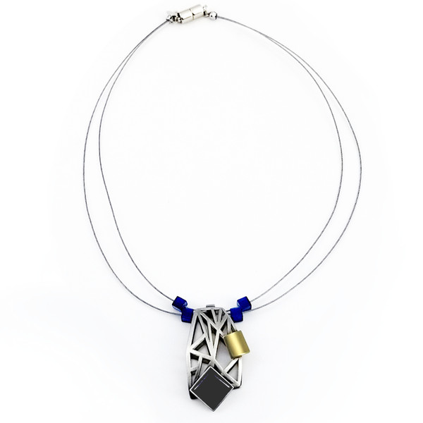 Christophe Poly Navy Square Necklace