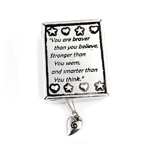 Braver/Stronger Wish Box with Spirial Heart Necklace