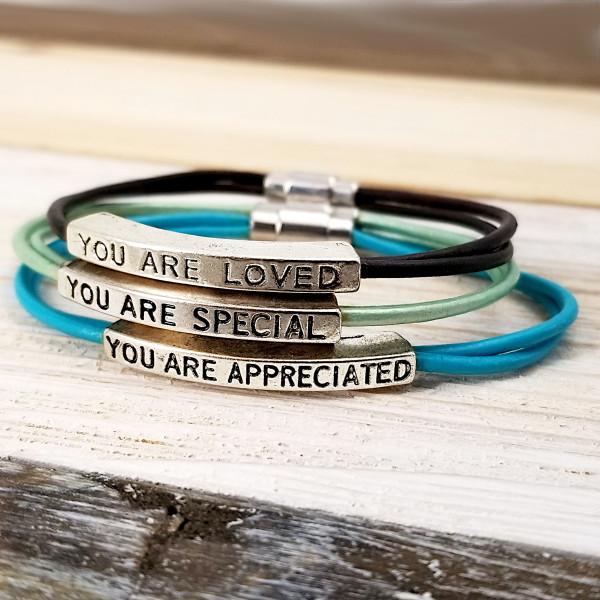 Leather Affirmation Bracelets