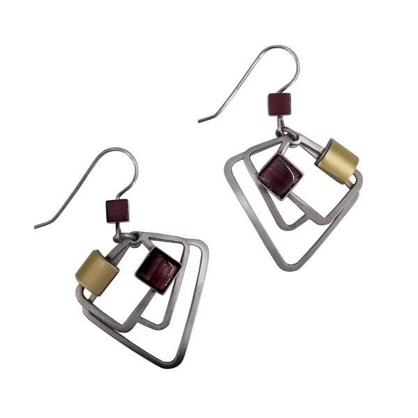 Christophe Poly Purple Square Earrings
