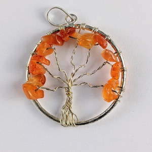 Carnelian Wire Tree Pendant