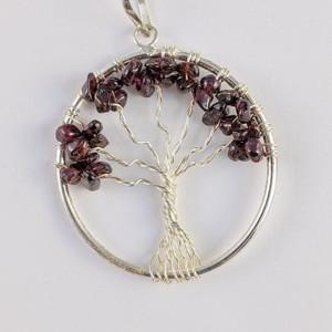 Garnet Wire Tree Pendant