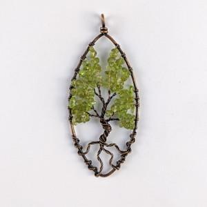 Peridot Wire Tree Pendant