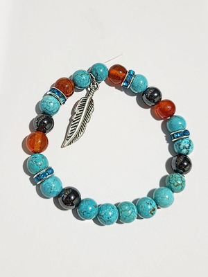 Turquoise, Carnelian, & Hematite w/ feather charm