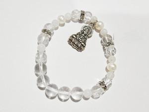 Rainbow Moonstone, Pearl & clear qtz w/ Siddhartha charm