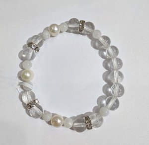 Rainbow Moonstone  with Quartz and Pearls