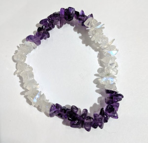 Rainbow moonstone and Amethyst chip