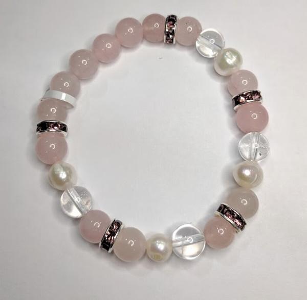 Rose Quartz with Clear Quartz and Pearls