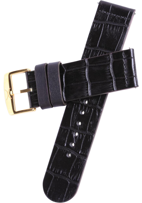 Xeric 22mm Black Croc Leather Strap with Gold Buckle (HLG-3019-STRAP)
