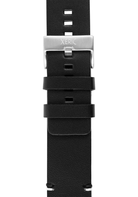 Xeric 24mm Smooth Black/Silver Leather Strap (XRC-XS2-24-BKSV)