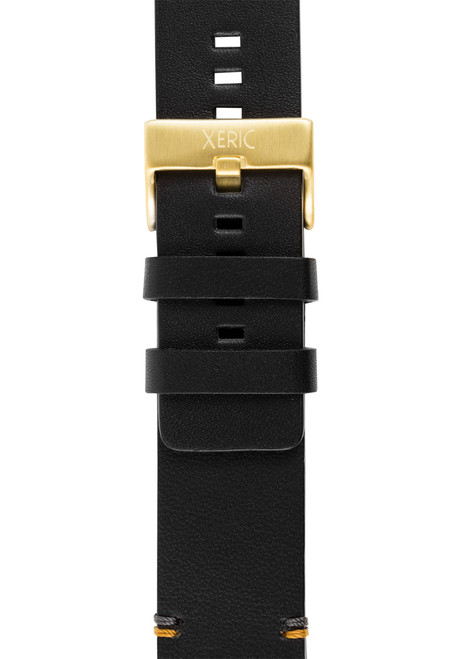 Xeric 24mm Smooth Black/Gold Leather Strap (XRC-XS2-24-BKGD)