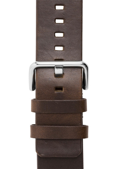 Xeric 24mm American Horween Brown/Silver Leather Strap (XRC-SOLO-24-BRSV)