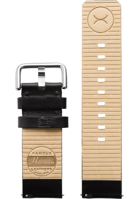Xeric 24mm American Horween Black/Silver Leather Strap (XRC-SOLO-24-BKSV)