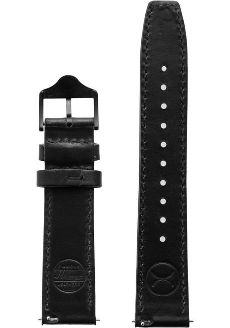 Xeric 20mm Horween Full Stitched Black Leather Strap (XRC-EGA-20-BKBK)