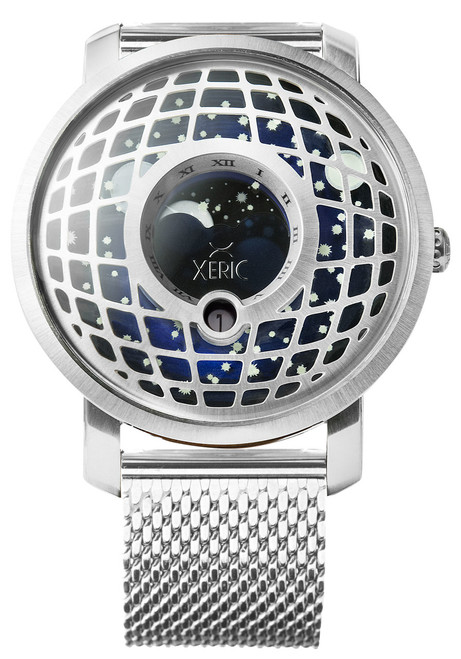 Trappist-1 Moonphase Silver Blue Mesh (TMP-3021-MESH) front