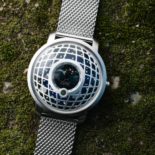 Trappist-1 Moonphase Silver Blue Mesh (TMP-3021-MESH)