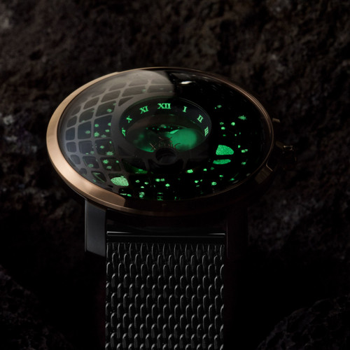 Trappist-1 Moonphase Rose Gold Mesh (TMP-3018-MESH) lume