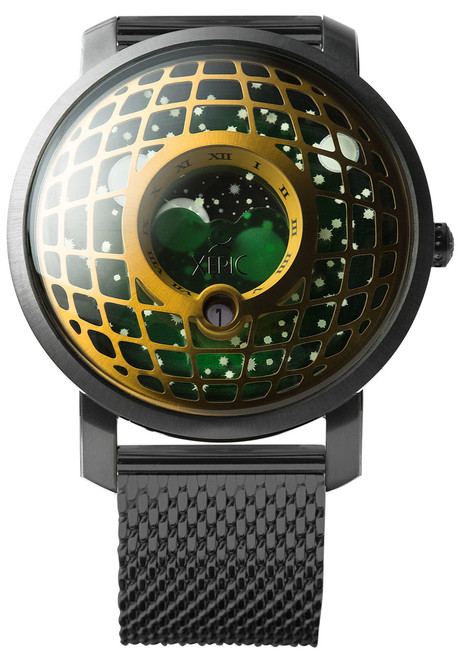 Trappist-1 Moonphase Brass Green Mesh (TMP-3017-MESH) front