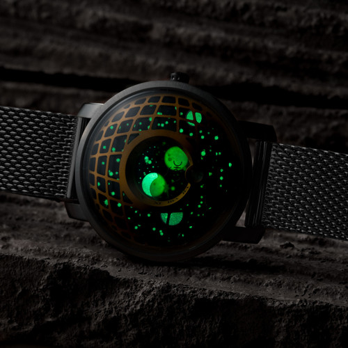 Trappist-1 Moonphase Brass Green Mesh (TMP-3017-MESH) lume