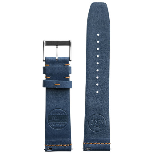 Xeric 22mm Ribbed Horween Leather Navy/Orange Strap (XRC-TMP-22-NVOR)