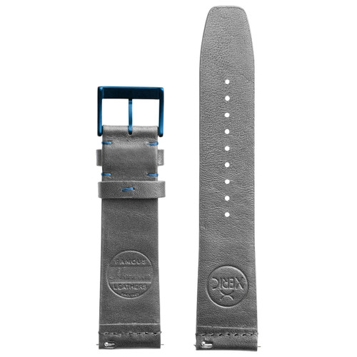 Xeric 22mm Ribbed Horween Leather Gray/Blue Strap (XRC-TMP-22-GYBL)