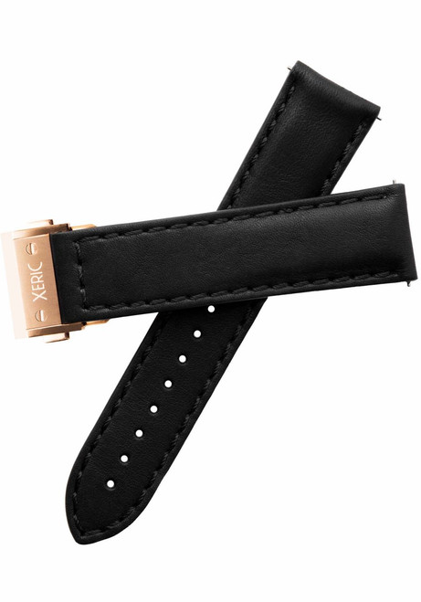 Xeric 22mm Horween Black Essex Strap with Rose Gold Hidden Deployant Clasp (XRC-HGT-22-BKRG)