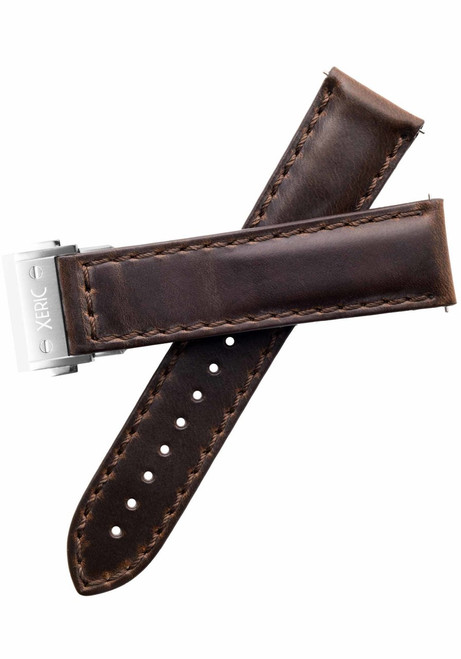 Xeric 22mm Horween Brown Chromexcel Strap with Silver Hidden Deployant Clasp (XRC-HGT-22-BRSV)