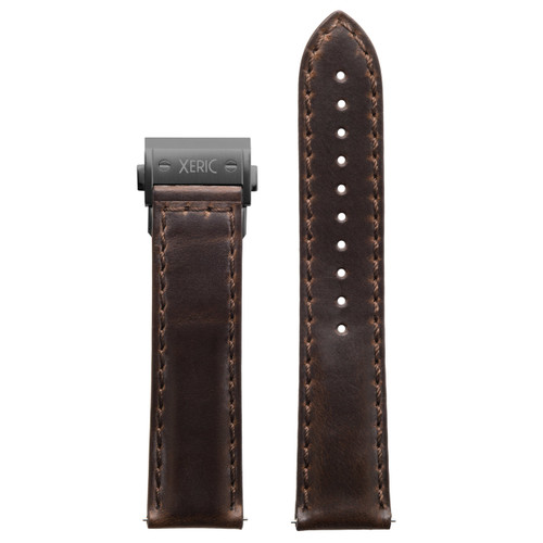 Xeric 22mm Horween Brown Chromexcel Strap with Gunmetal Hidden Deployant Clasp (XRC-HGT-22-BRGN)