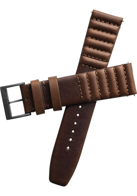 Xeric 20mm Ribbed Horween Leather Brown Strap Gun Buckle (XRC-TMP-20-BRGN)