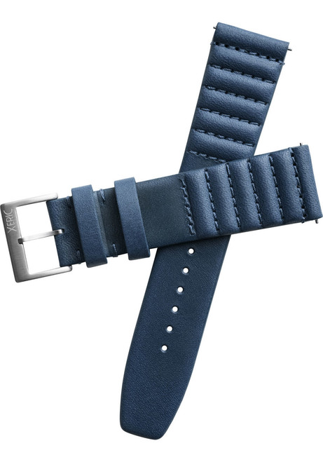Xeric 20mm Ribbed Horween Leather Navy Strap with Silver Buckle (XRC-TMP-20-NVSV)