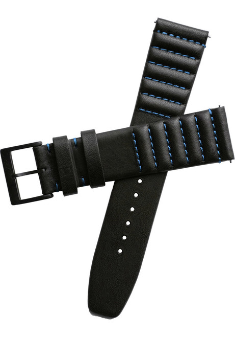 Xeric 20mm Ribbed Horween Leather Black/Blue Strap (XRC-TMP-20-BKBL)
