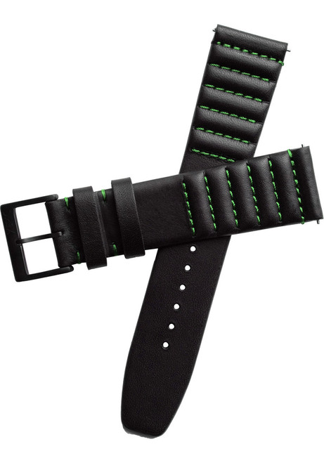 Xeric 20mm Ribbed Horween Leather Black/Green Strap (XRC-TMP-20-BKGR)