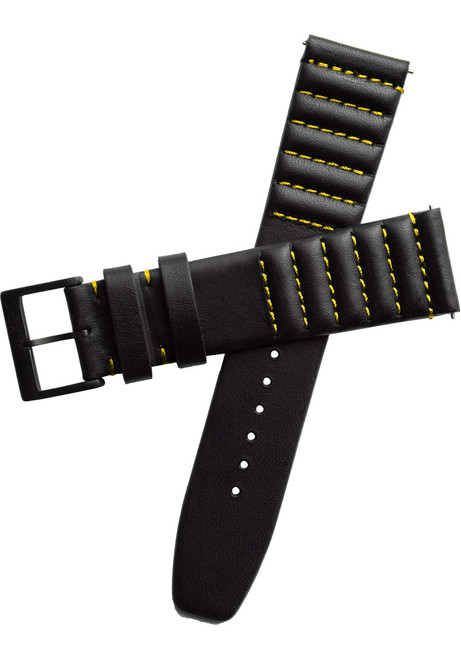 Xeric 20mm Ribbed Horween Leather Black/Yellow Strap (XRC-TMP-20-BKYL)