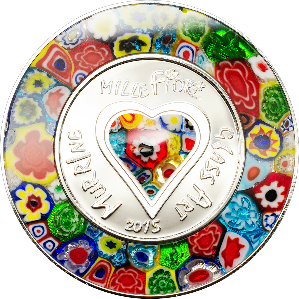 2015 Murrine Millefiori Glass Art $5 Silver Coin - Cook Islands