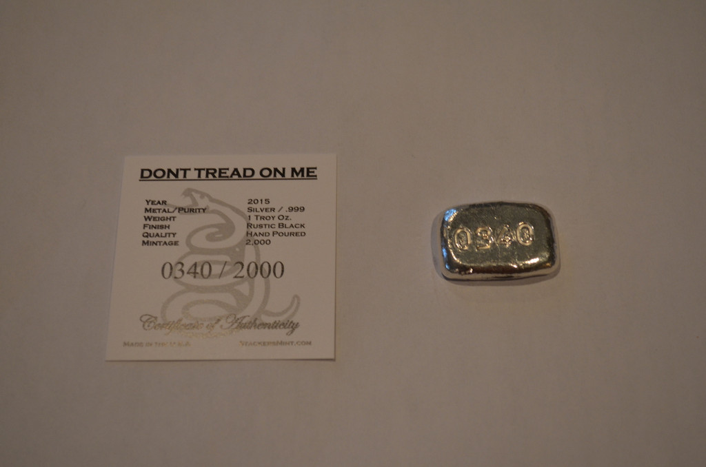 "(5x) 1 oz Hand Pour Silver Bar STACKERS MINT Series ""DONT TREAD ON ME"" 2015"