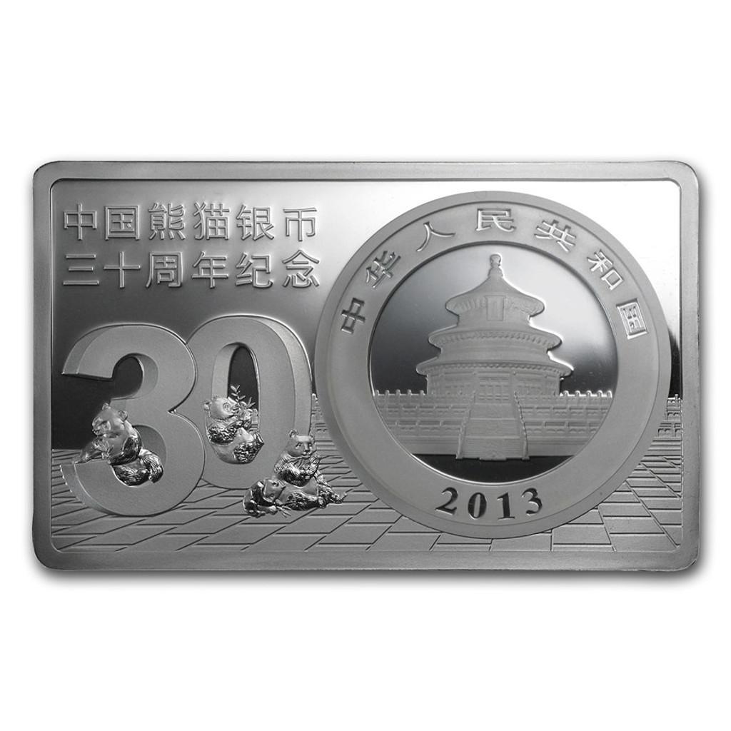 2013 3 oz 30th Anniversary China Panda Silver Bar and Coin Set Box COA