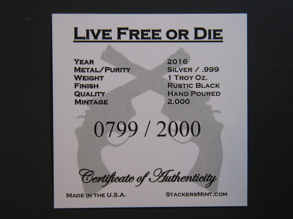 "(5x) 1 oz Hand Pour Silver Bar STACKERS MINT Series ""LIVE FREE OR DIE"" 2016"