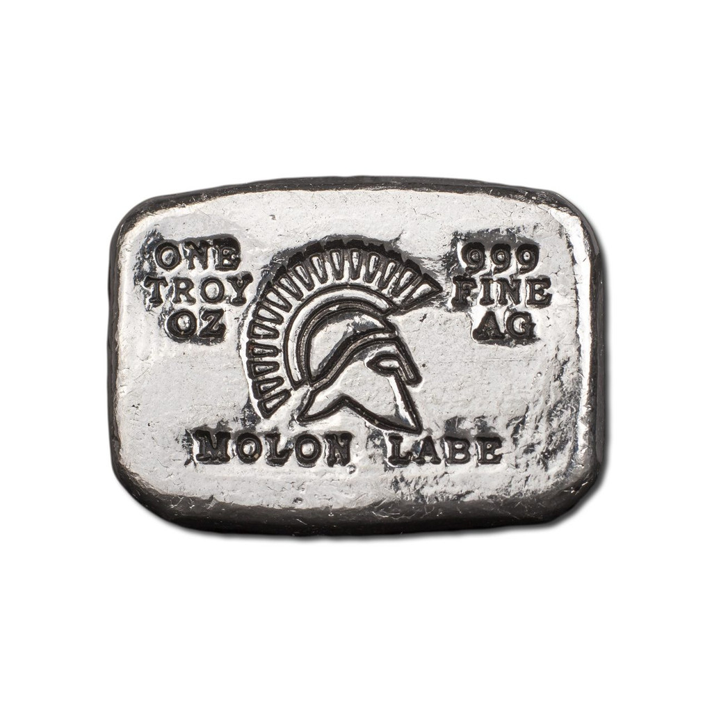 "1 oz Hand Pour Silver Bar STACKERS MINT Series ""MOLON LABE"" 2017"