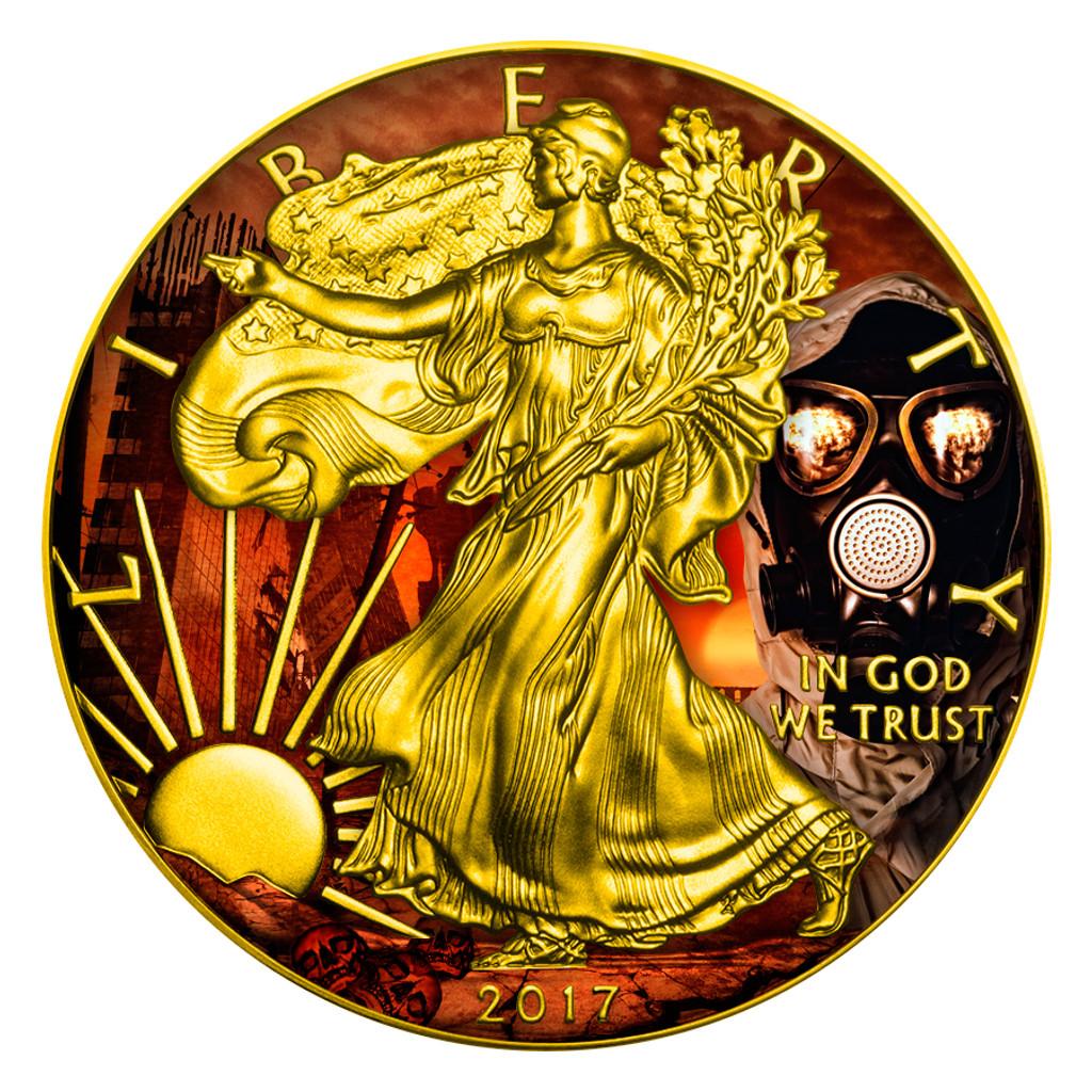 2017 AMERICAN EAGLE Outbreak Colorized 1oz Silver coin COA $1 Armageddon