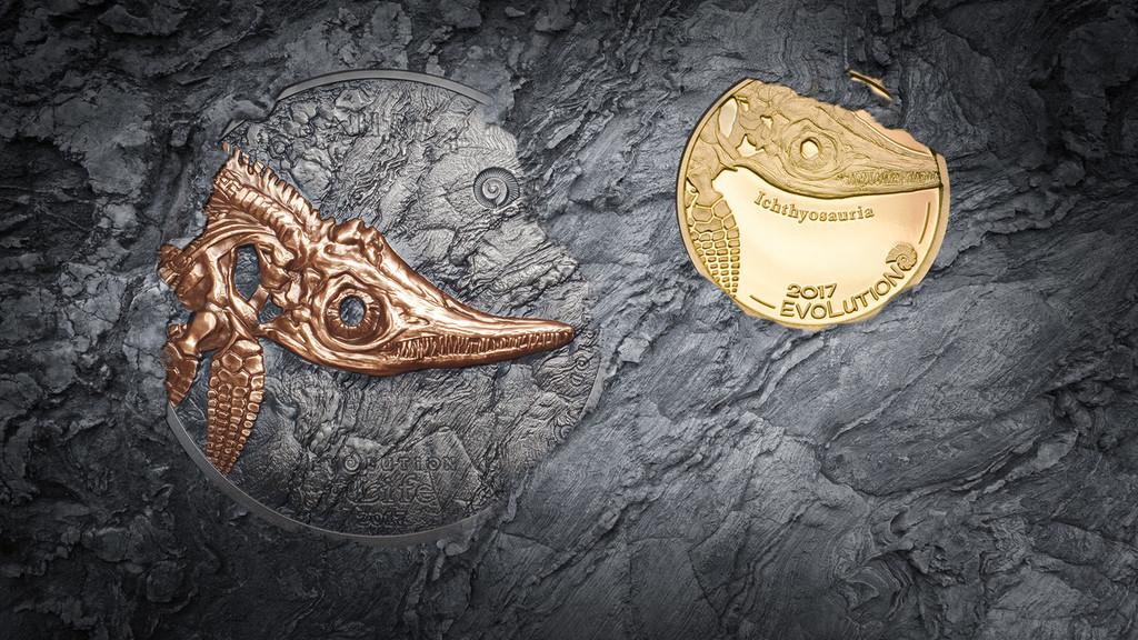 2017 ICHTHYOSAUR Evolution of Life Triassic Period 1 Oz Silver Coin 500 Togrog Mongolia