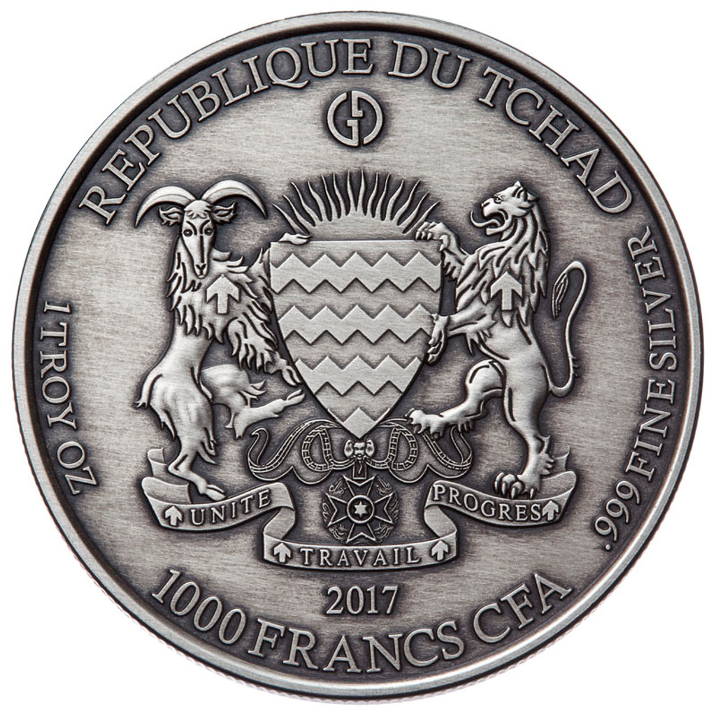 "2017 Gargoyles & Grotesques ""Spitter"" Notre Dame Silver Coin Tchad 1000 Francs ANTIQUED"