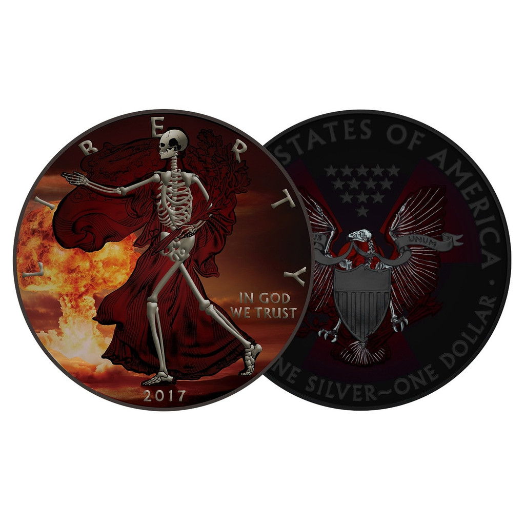 2017 AMERICAN EAGLE Armageddon Skeletal Edition Colorized 1oz Silver coin COA $1