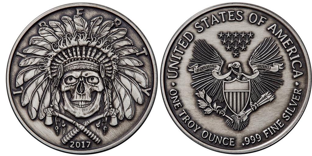 2017 1 oz .999 Silver ANTIQUED Round Western Skulls INDIAN CHIEF