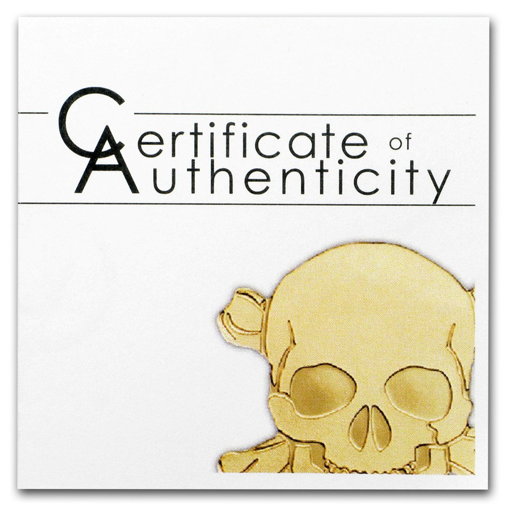 2017 GOLDEN PIRATE SKULL 1/2 gram .9999 Gold $1 Palau